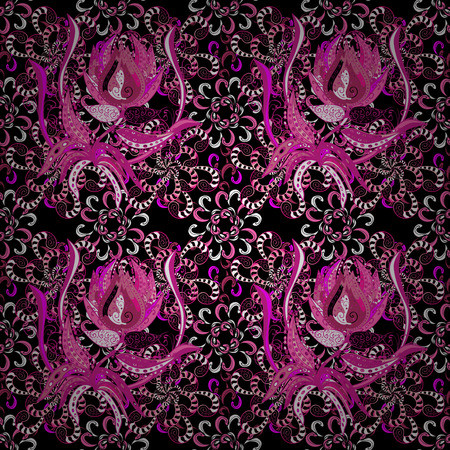 pink and black: Retro textile design collection. Abstract seamless vector pattern with hand drawn floral elements. Black, pink and magenta on black, pink, magenta. Silk scarf with blooming flowers. 1950s-1960s motifs