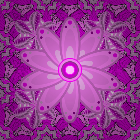 Gentle, spring floral on pink, magenta and violet colors. Vector illustration. Vector floral pattern in doodle style with flowers and leaves. Illustration
