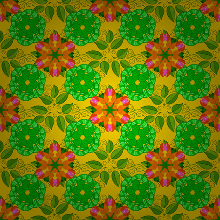 paper background: On green, yellow and orange backdrop. Vector seamless pattern with hand drawn doodle flowers. Childish design. Cute floral background for textile, fabric, wrapping, scrapbooking. Illustration