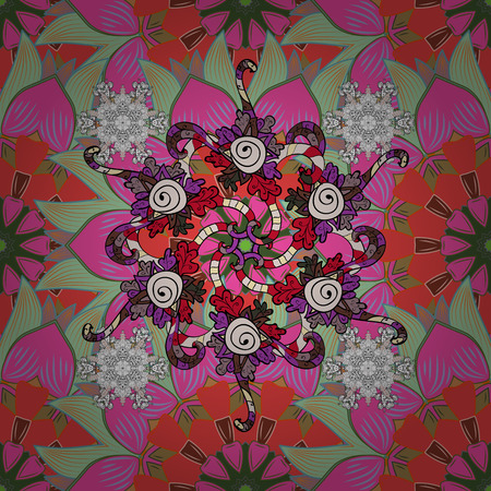 cute cartoon: Cute Floral pattern in the small flower. Flowers on pink, neutral and green colors. Illustration