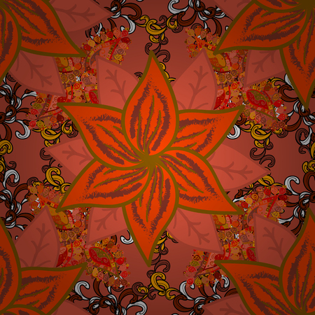 Flowers on orange, brown and black colors. Cute Floral pattern in the small flower.