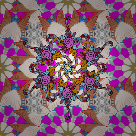 day: Flowers on neutral, magenta and orange colors. Vector floral pattern in doodle style with flowers. Gentle, tender floral background.