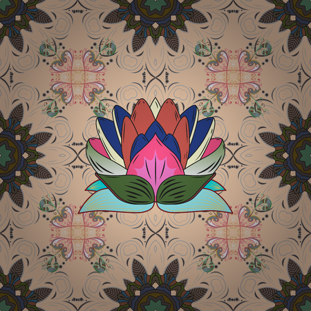 paper background: Seamless floral pattern in folk style with flowers, leaves. Hand drawn. Vector illustration.