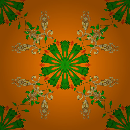 paper background: Flowers on orange, green and yellow colors. Seamless Floral Pattern in Vector illustration.
