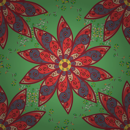 paper background: Seamless flowers pattern. Colour Spring Theme seamless pattern Background. In asian textile style. Flat Flower Elements Design. Vector illustration. Flowers on green, red and neutral colors.