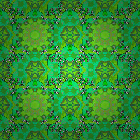 Vector illustration. Flowers pattern. Seamless Chichi fabric pattern. Flat Flower Elements Design. Colour Spring Theme seamless pattern Background. Illustration