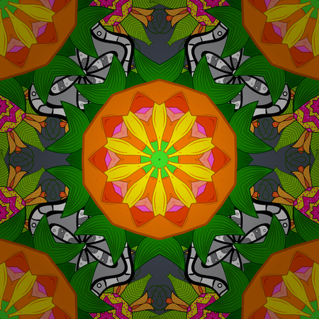 It can be used on mug prints, baby apparels, sketch, wrapping boxes etc. Elegant, bright and seamless green, orange and yellow flower pattern design.