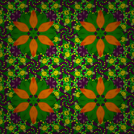 Tropical seamless pattern with many green, purple and orange abstract flowers. Cute Floral pattern in the small flower. Varicologreen, purple and orange vector seamless illustration.