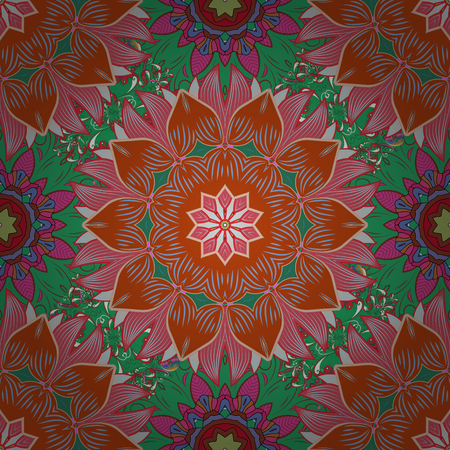 Floral pattern for wedding invitations, greeting cards, print, gift wrap, manufacturing. Editable. Elegant seamless pattern with orange, green and pink flowers in watercolor style, design elements.