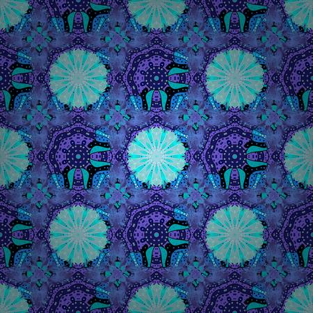 Vintage outline illustration. Floral blue, violet and neutral seamless pattern. Vector flower print.