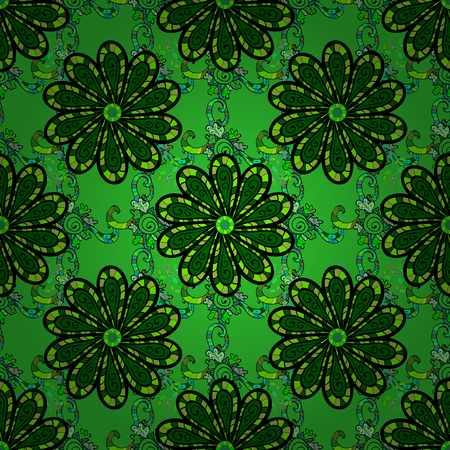 calico: Seamless pattern with floral ornament in color green. Vector illustration Illustration