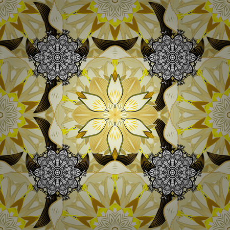 Seamless flower pattern can be used for sketch. Flowers on yellow, neutral and beige colors. Vector illustration.