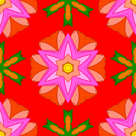 Seamless pattern with red, pink and orange flowers. Floral watercolor seamless background. Vector textile print for bed linen, jacket, package design, fabric and fashion concepts.