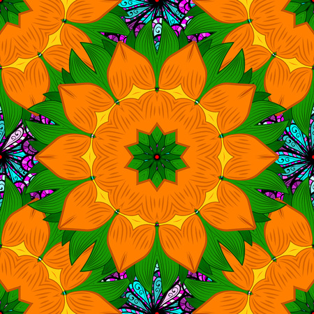 Elegant seamless pattern, decorative flowers in orange, green colors. Vector floral pattern for wedding invitations, greeting cards, scrapbooking, print, gift wrap, manufacturing fabric and textile.
