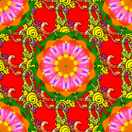 Multicolor ornament of small simple orange, red and green flowers, vector abstract seamless pattern for fabric or textile design. Illustration