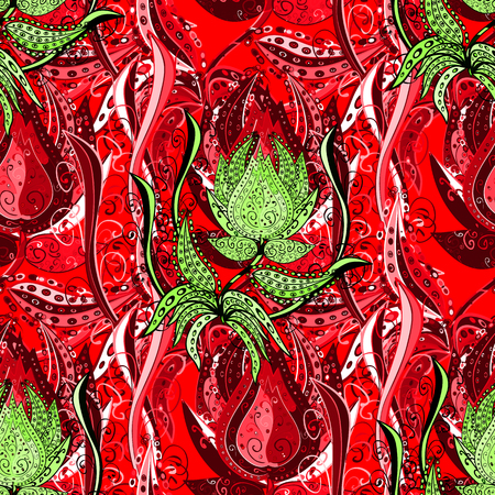 Pretty floral print with red, green and black small flowers. Motley seamless pattern. Vector abstract flower background. Illustration
