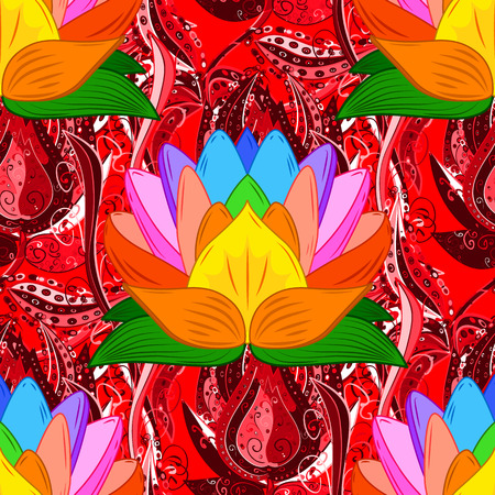 red rug: Vector sketch of many abstract flowers in red, orange and pink colors. Hand drawn seamless flower illustration. Seamless pattern abstract floral background. Illustration