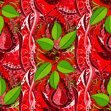Trendy seamless floral pattern. Vector illustration with many red, green and pink flowers.