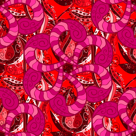 Pretty floral print with red, magenta and pink small flowers. Motley seamless pattern. Vector abstract flower background.