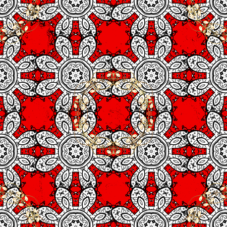 Vector pattern background sketch with white antique floral medieval decorative flowers, leaves and white pattern ornaments on red background. Ornamental royal luxury white baroque damask vintage.