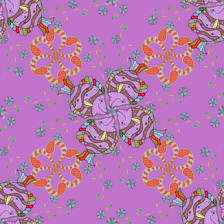 Seamless Floral Pattern in Vector illustration. Flowers on orange, pink, violet and neutral background.