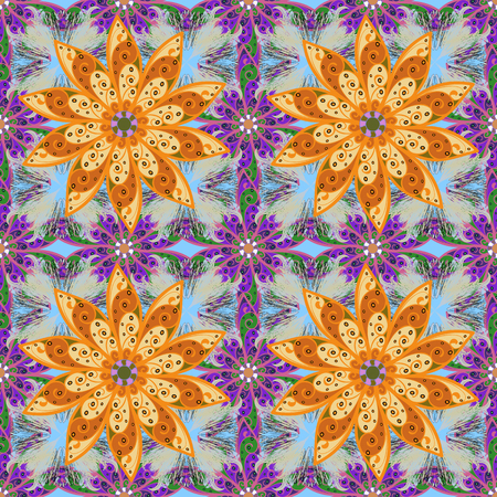 Watercolor hand painting of abstract orange, gray and violet flowers, seamless pattern vector background. Illustration