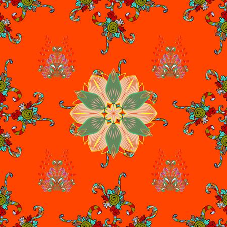 Flowers on orange, green and beige background. Flat Flower Elements Design. Colour Spring Theme seamless pattern Background. Seamless Floral Pattern in Vector illustration. Illustration