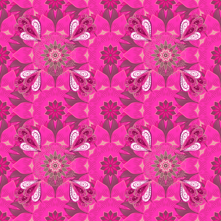 Vector illustration with many pink, purple and magenta flowers. Trendy seamless floral pattern.