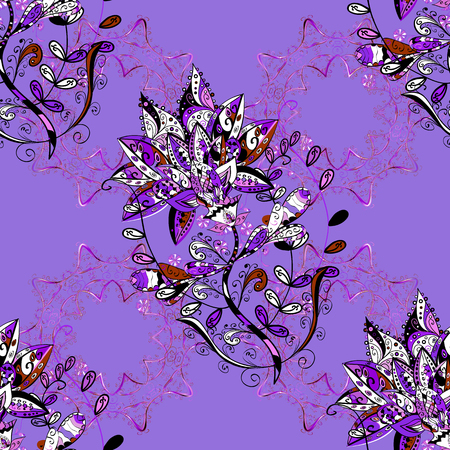 Vintage vector floral seamless pattern in white, violet and black colors.