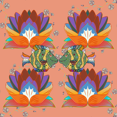 Tropical seamless pattern with many orange, blue and neutral abstract flowers. Varicolored vector seamless illustration. Illustration