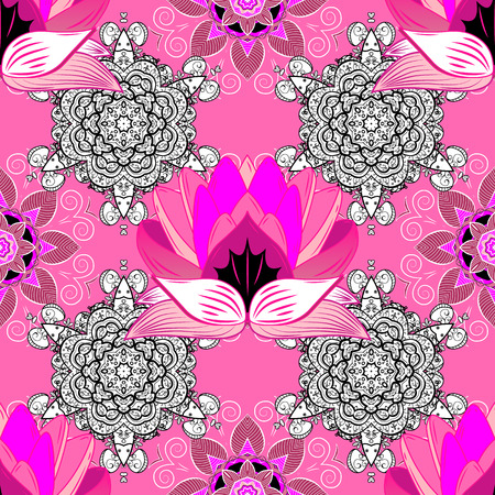 Botanical seamless pattern. Watercolor effect. Vector pattern. Organic elements. Lotus. Illustration