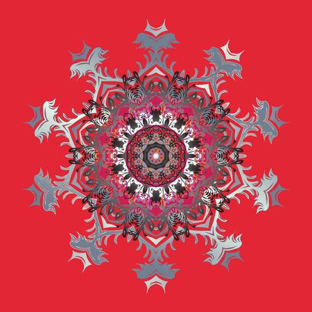 Snowflake isolated on red background. Gray mandala. Snowflake Icon. Snowflake Vector illustration.