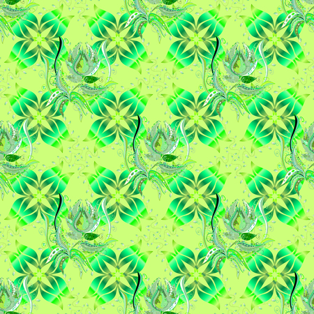 Elegant seamless pattern with decorative flowers in green, neutral and blue colors. Vector floral pattern for wedding invitations, greeting cards, print, gift wrap, manufacturing fabric and textile.