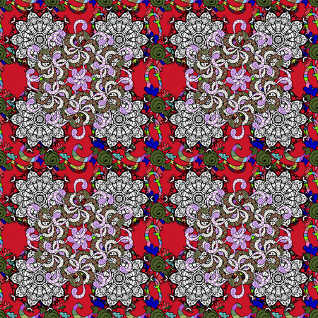 Abstract ethnic vector seamless pattern. Tribal art boho print, vintage flower background. Background texture, sketch, floral theme in black, red and white colors.