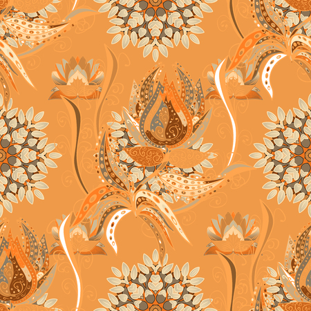 Hand drawn floral texture, orange, beige and brown decorative flowers. Vector seamless colorful floral pattern.