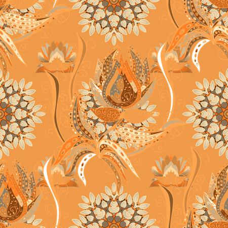 Texture floral dessiné à la main, fleurs décoratives orange, beige et marron. Motif floral coloré sans soudure de vecteur.