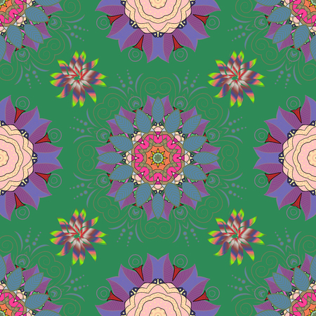 Vector seamless colorful floral pattern. Hand drawn floral texture, green, neutral and blue decorative flowers. Illustration