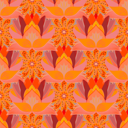 Hand drawn floral texture, orange, pink and neutral decorative flowers. Vector seamless colorful floral pattern. Illustration