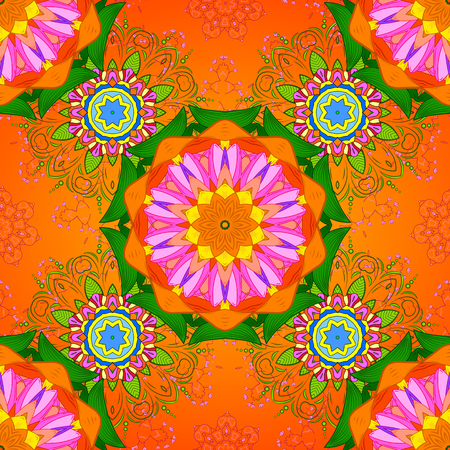 Decorative colored round ornament. Colorful mandala. Oriental flourish vector. Yoga   background for meditation poster. Indian flower mandala. Anti-stress mandala.