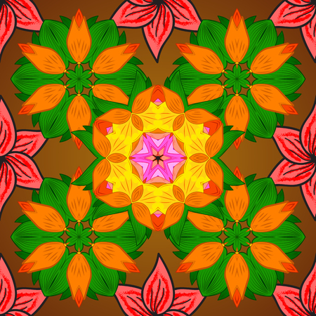glorious: Ornament green, orange and brown colored card with mandala. Tribal, Boho, Bohemian style. Kaleidoscope, medallion, yoga, india, arabic. Geometric circle vector element. Illustration
