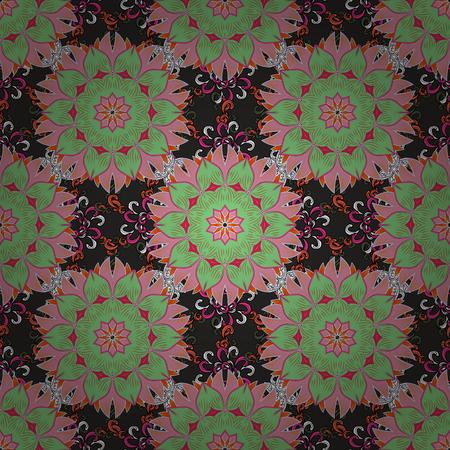 Fond marin avec des fleurs, coquillages, mandalas et effet aquarelle. Impression textile pour le linge de lit, la veste, la conception d'emballage, le tissu et les concepts de mode. Design ethnique de modèle sans couture. Vecteurs