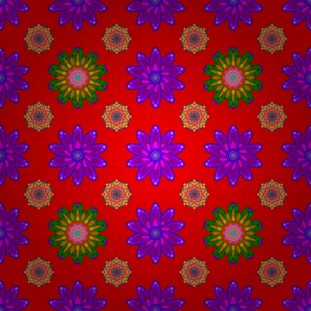 Seamless exotic pattern with red and purple tropical flowers. Ilustração