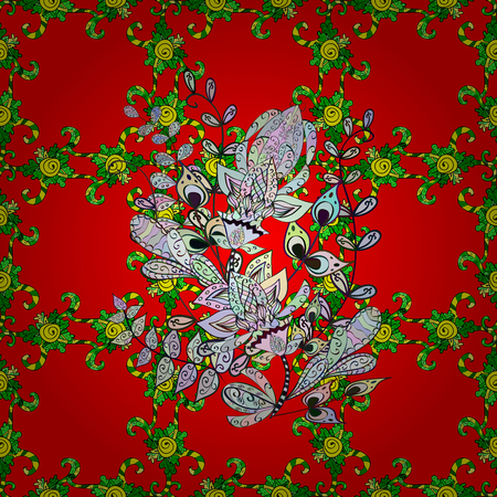 red rug: Small colorful flowers. Spring floral background with red, green and neutral flowers. Vector cute pattern in small flower. The elegant the template for fashion prints. Motley illustration.