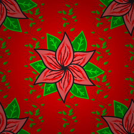 Seamless pattern with flowers on motley background. Vector illustration of red, green and pink flowers.
