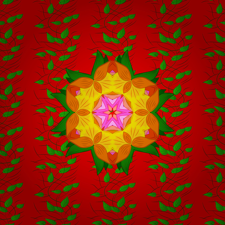 Seamless floral pattern can be used for sketch, website background, wrapping paper. Vector flower concept. Leaf natural pattern in red, green and orange colors. Summer design.
