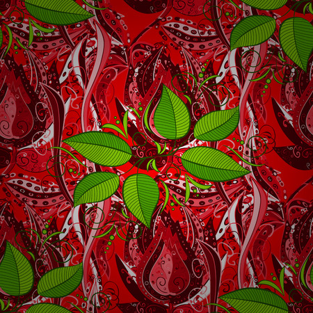 Flower concept. Leaf natural pattern in red, green and pink colors. Floral pattern can be used for sketch, website background, wrapping paper. Summer design. Illustration