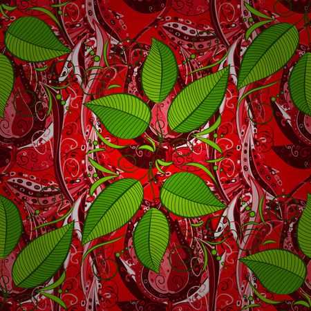 Vector illustration with many red, green and pink flowers. Trendy seamless floral pattern. Illustration