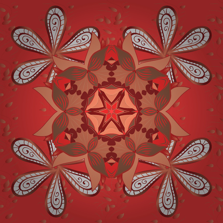 Elegant decorative ornament for fashion print, wrapping paper, sketch Vector. Simple floral seamless pattern with flowers. Red, white and orange outline flowers on red, white and orange background.