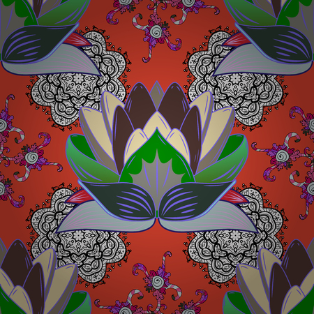 Elegance seamless pattern with ethnic flowers on green, black and red background. Vector Floral Illustration in cute textile.