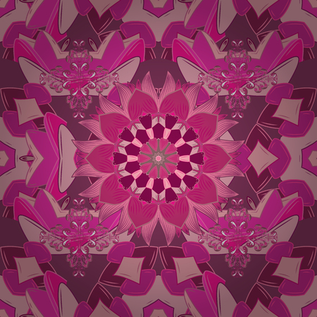 Seamless pattern. On pink, magenta and purple background. Colorful ornamental border. Indian ornament. Vector illustration. Floral sketch.